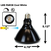 PAR38 LED Light Bulb 18W 4000K Cool White - Black Finish  PAR38 LED Bulb, LED Bulbs, Light Bulbs, PAR38, PAR, LED,  Cool White, 4000K, LB-3002-BK-4K