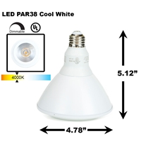PAR38 LED Light Bulb 18W 4000K Cool White - White Finish  PAR38 LED Bulb, LED Bulbs, Light Bulbs, PAR38, PAR, LED,  Cool White, 4000K, LB-3002-WH-4K
