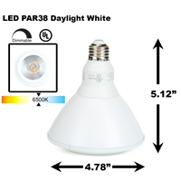 PAR38 LED Light Bulb 18W 6500K Daylight White - White Finish Grow light - Hyproponic PAR38 LED Bulb, LED Bulbs, Light Bulbs, PAR38, PAR, LED,  Daylight White, 6500K, LB-1002-WH-65K,  Grow Light Hydroponics