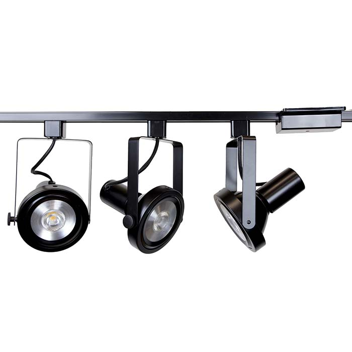 Rear Loading Gimbal Ring LED Track Lighting Kit 50006-3KIT-3K-BK