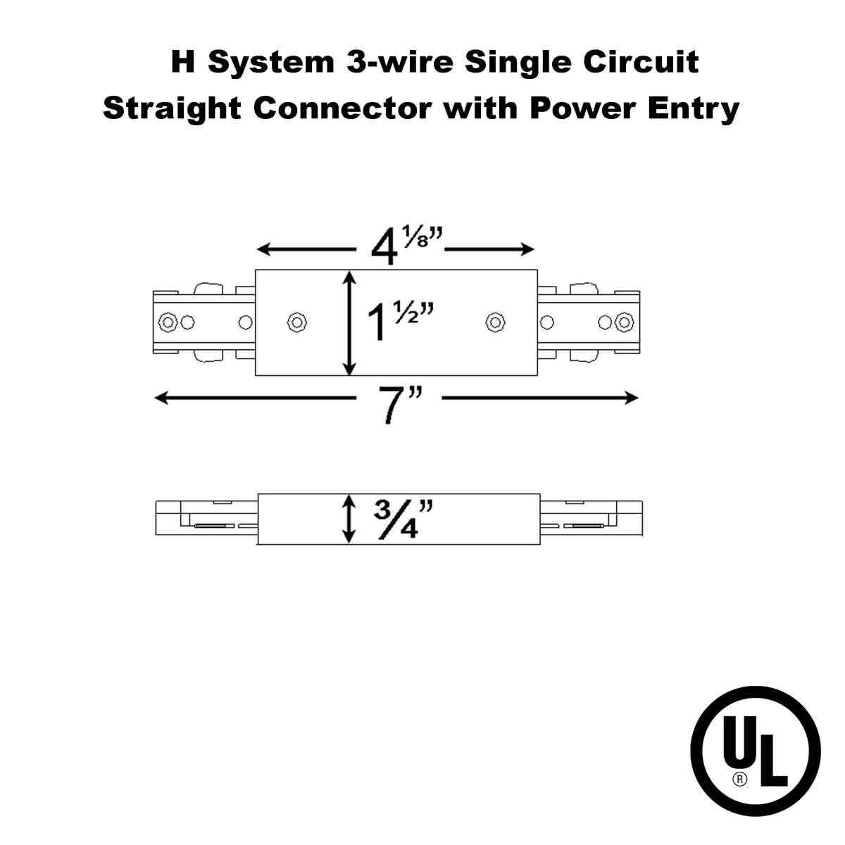 Straight Connector With Power Entry for Single Circuit