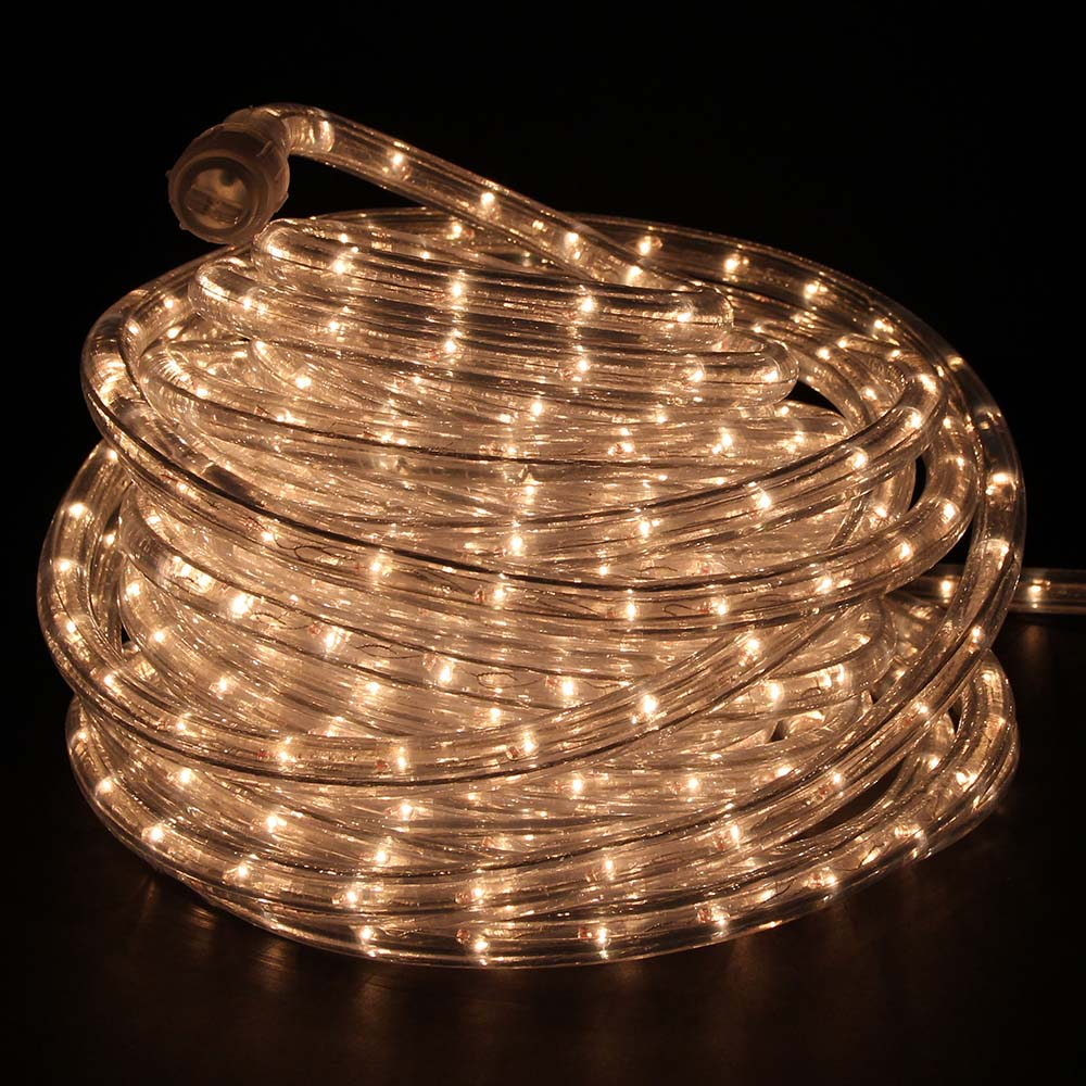 Warm white incandescent rope lights 48ft 120v rlwl x 48 ww direct 120 volt warm white incandescent rope light 48 feet in dark room aloadofball Choice Image