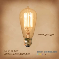 Edison Bulb LB-7146-40W  ( Pack of 6 ) Edison Bulbs, Antique Light Bulbs, Vintage Light Bulbs, ST18, Bulb, Victorian, Decorative, LB-7146-40W