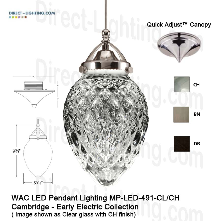 Shop WAC Lighting LED Pendant Lighting MP-LED491-CL Direct